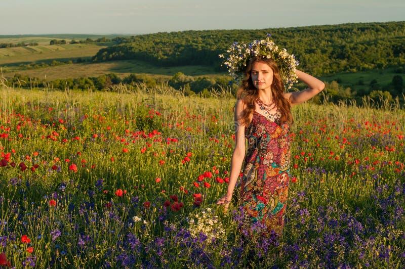 Fille avec une guirlande des fleurs Visage de belle fille ukrainienne photo stock