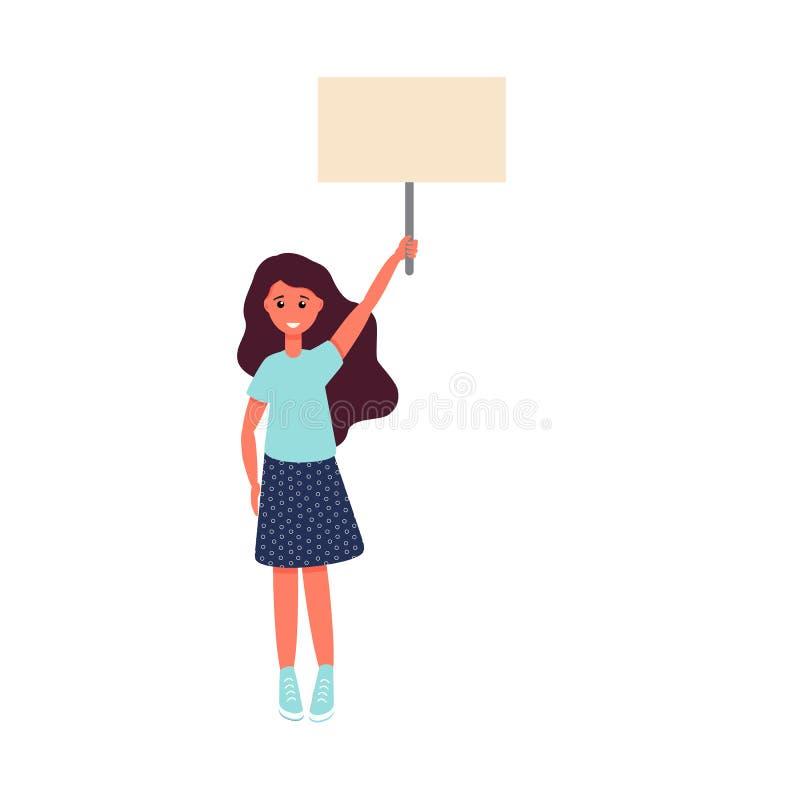 Fille avec une illustration de vecteur d'affiche Calibre d'affiche d'activiste illustration de vecteur