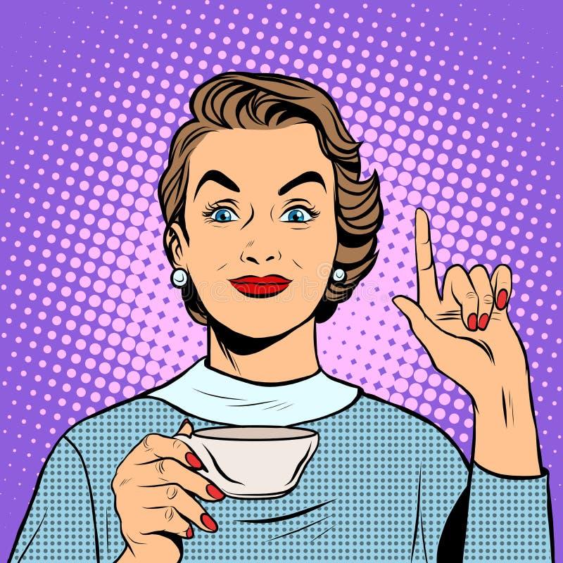 Fille avec une tasse de thé ou de café illustration de vecteur