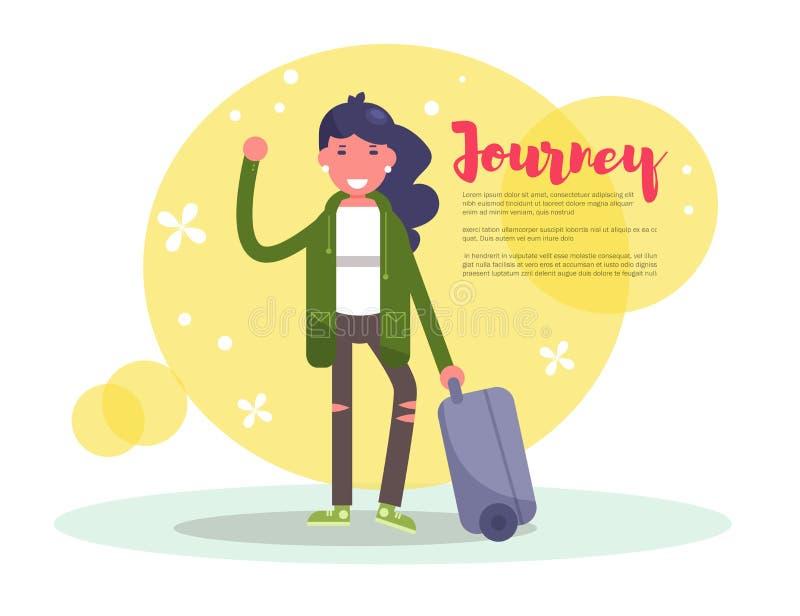 Fille avec une valise Vecteur de voyage cartoon Art d'isolement sur le fond blanc plat illustration libre de droits