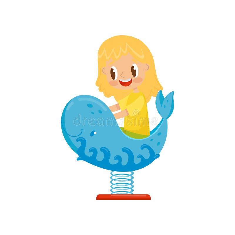 Fille ayant l'amusement à la baleine de bascule de ressort, enfant sur une illustration de vecteur de terrain de jeu sur un fond  illustration libre de droits