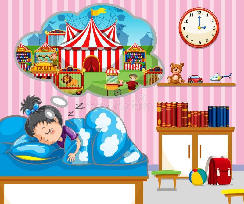 Fille ayant le bon rêve dans le lit illustration libre de droits