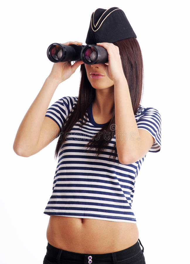 fille binoche retenant l'uniforme sexy marin photographie stock libre de droits