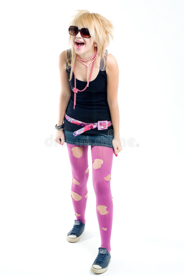 fille bizarre d'emo criant photos libres de droits