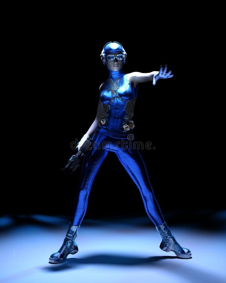 Fille bleue de la science fiction d'équipement de cyber illustration de vecteur