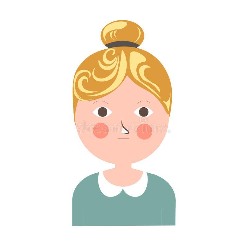 Fille blonde avec la touffe, les joues roses et le petit portrait de mite illustration de vecteur