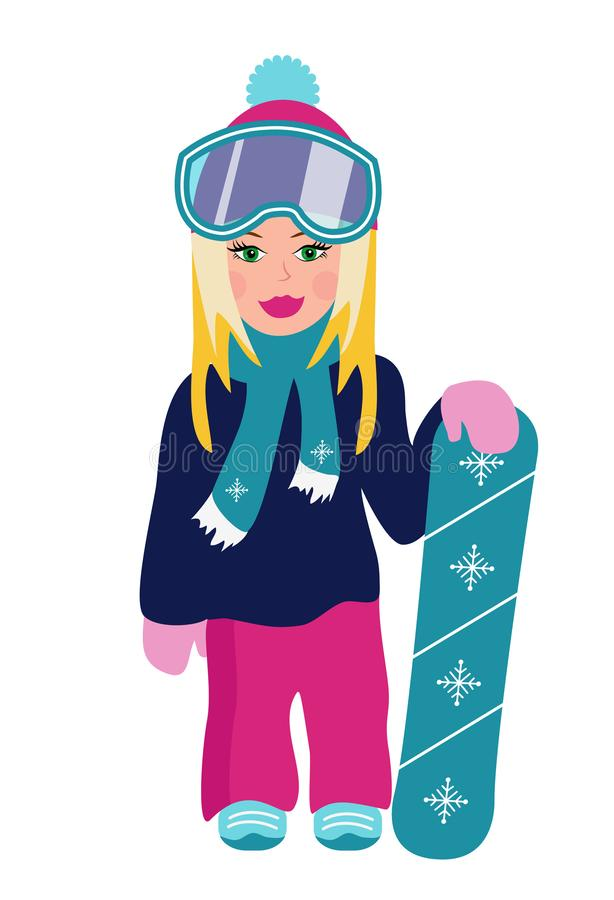 Fille blonde avec le surf des neiges d'isolement sur le fond blanc Illustration de vecteur illustration stock