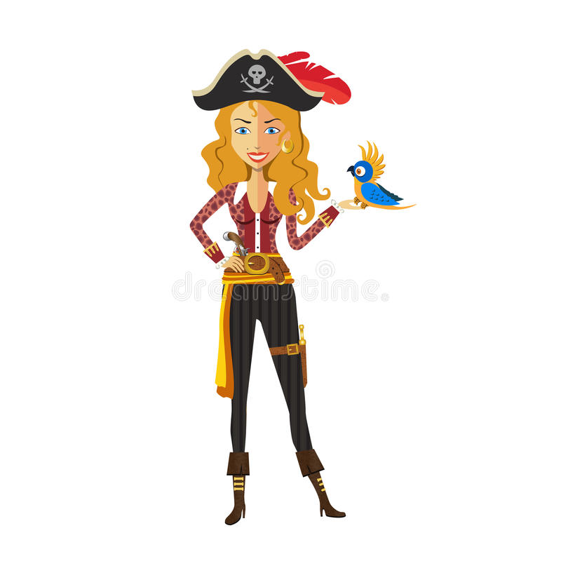 Fille blonde courageuse de pirate sur le fond blanc illustration stock