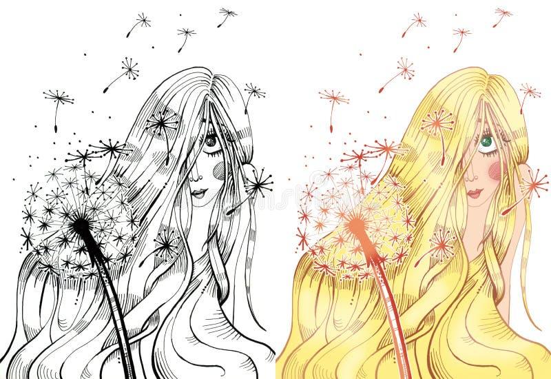 Fille blonde couvrant son visage de longs cheveux illustration stock