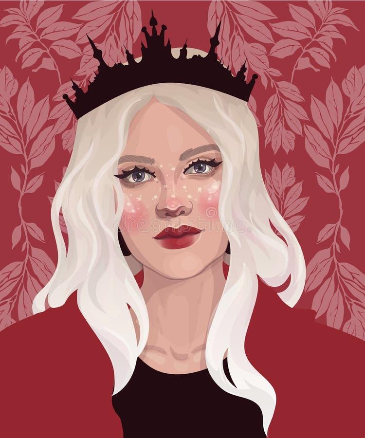 Fille blonde dans la couronne illustration de vecteur