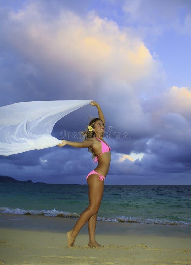 Fille blonde dans le bikini et la mousseline de soie roses image libre de droits
