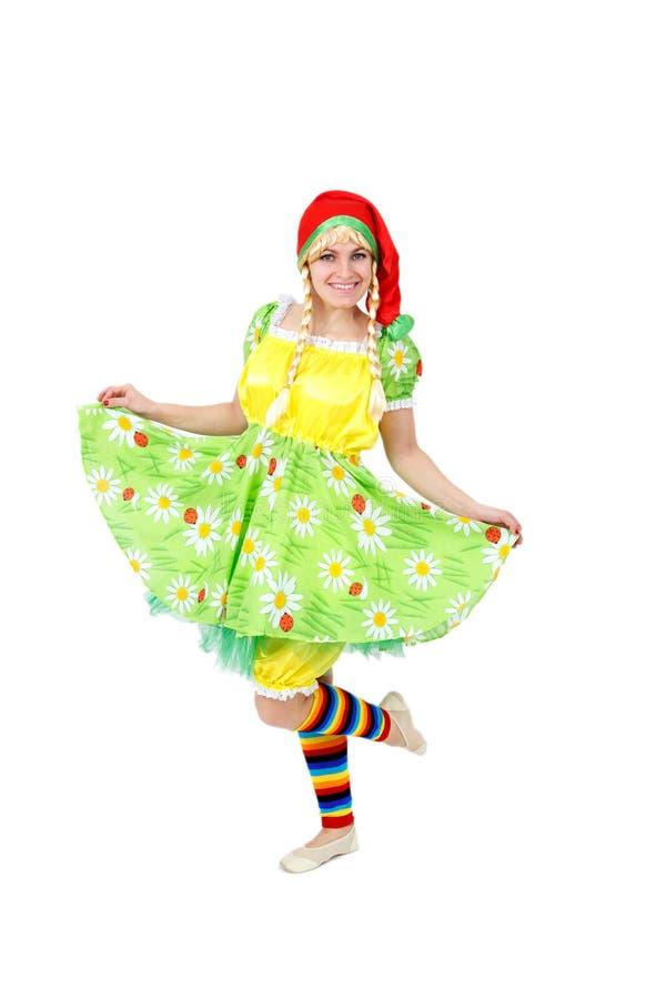 Fille blonde dans le costume féerique de carnaval d'isolement sur le blanc photos libres de droits