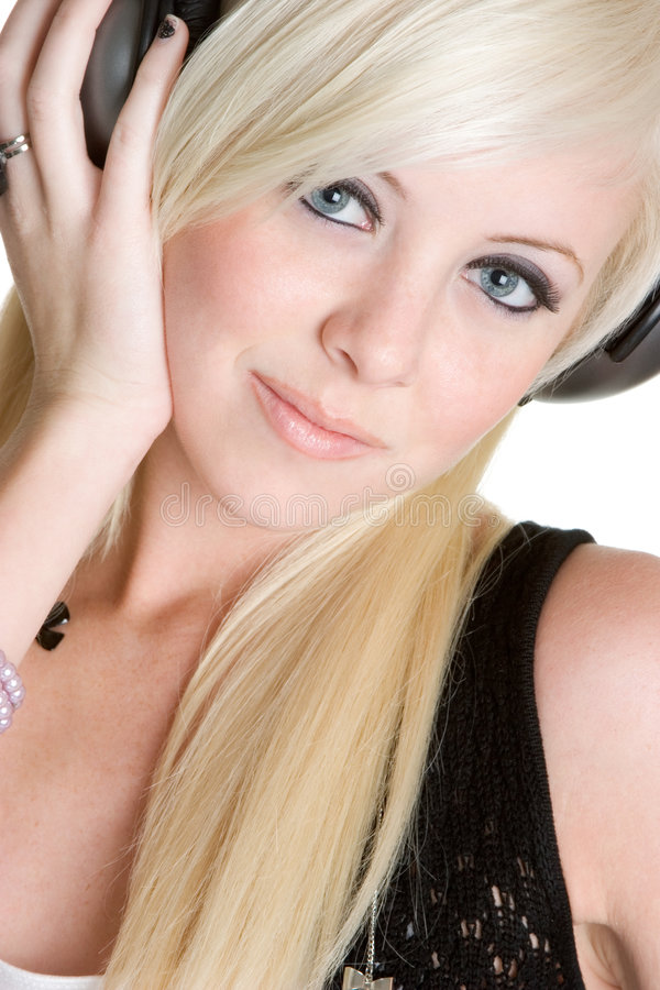 Fille blonde de musique photo stock