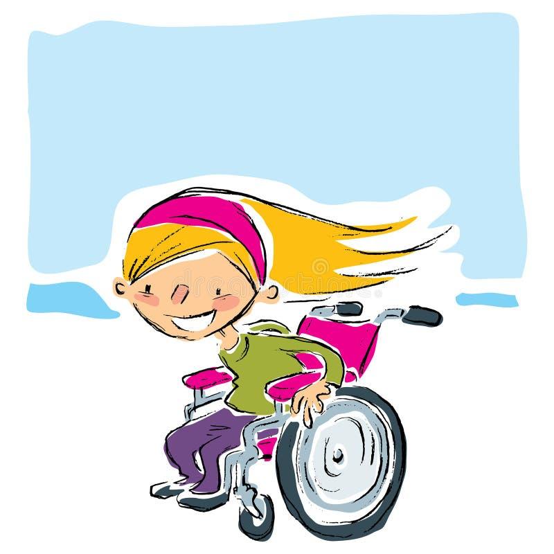Fille blonde de sourire de bande dessinée heureuse dans le fauteuil roulant magenta déplaçant f illustration de vecteur