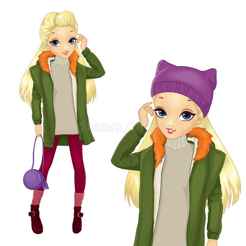 Fille blonde de style de ville dans le manteau de Greeen illustration de vecteur