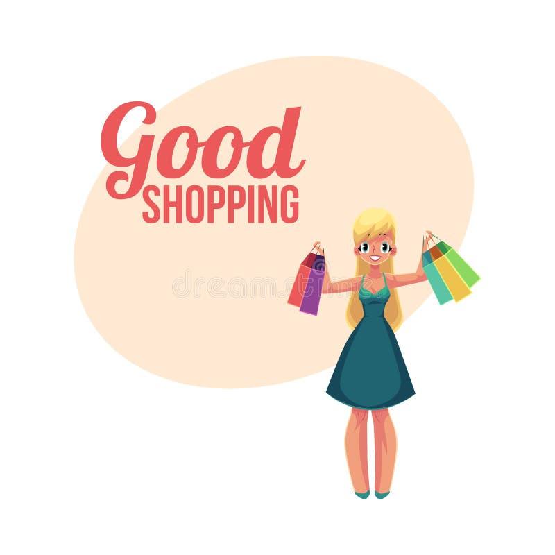 Fille blonde heureuse, femme tenant des paniers, concept de vente de vacances illustration de vecteur