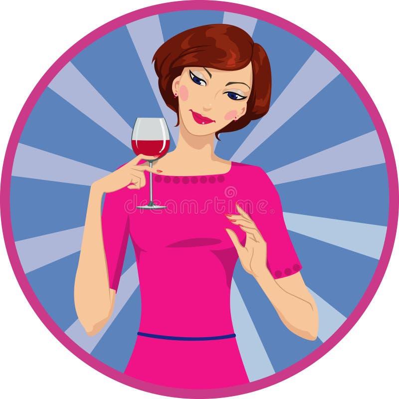 Download Fille buvant du vin rouge illustration de vecteur. Illustration du cheveu - 56489118