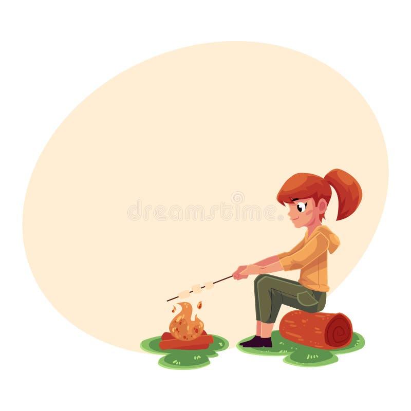 Fille caucasienne adolescente faisant frire la guimauve sur le feu, camping, augmentant le concept illustration de vecteur