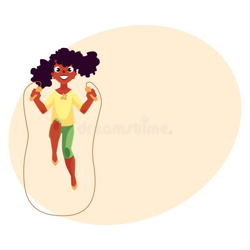 Fille caucasienne adolescente jouant avec la corde à sauter au terrain de jeu illustration stock