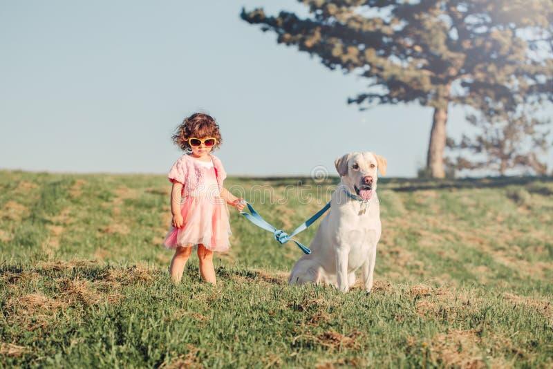 Fille caucasienne d'enfant dans des lunettes de soleil marchant le chien en parc photos stock