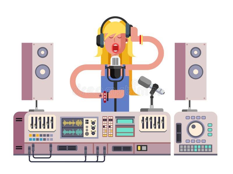 Fille chantant dans le studio d'enregistrement sonore illustration de vecteur