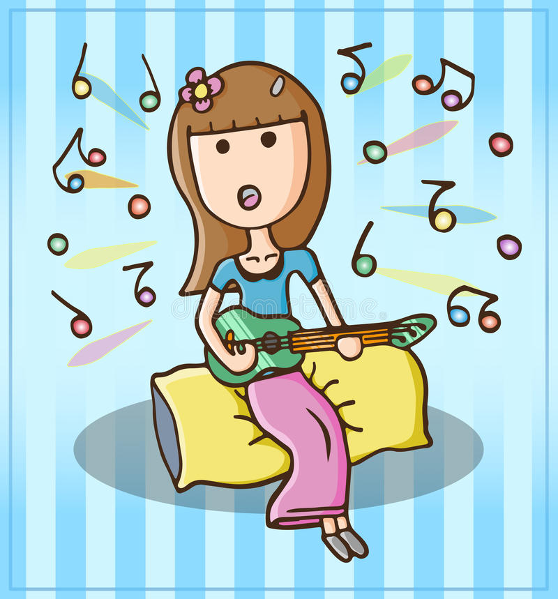 Fille chantant heureusement images libres de droits