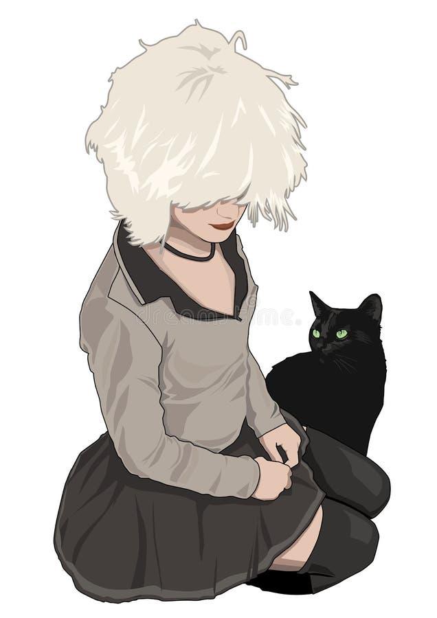 Fille + chat mignons illustration de vecteur