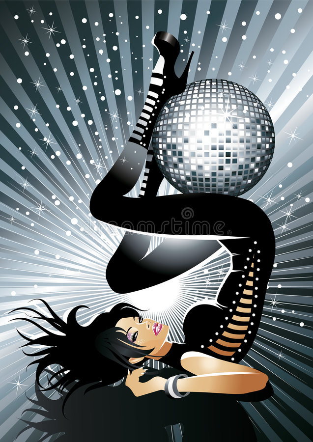 Fille chaude de disco illustration stock