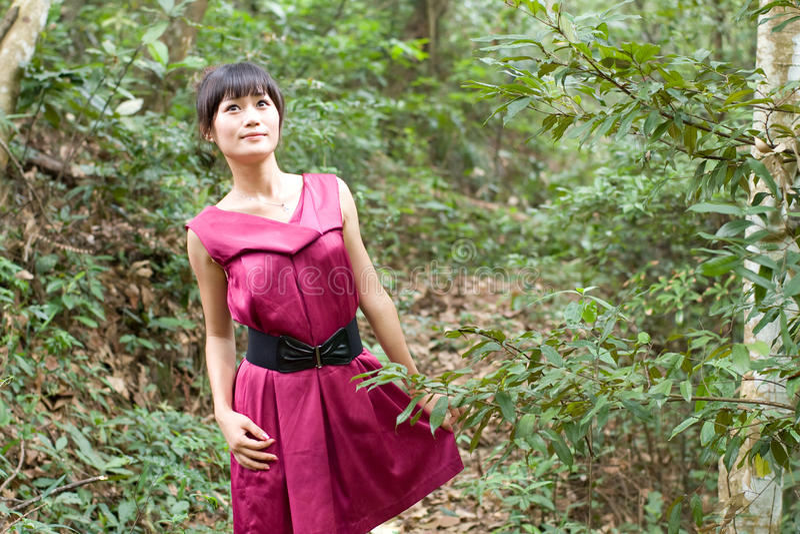 Fille chinoise dans le bois photo stock