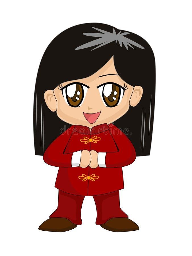 Fille chinoise mignonne de dessin animé illustration libre de droits