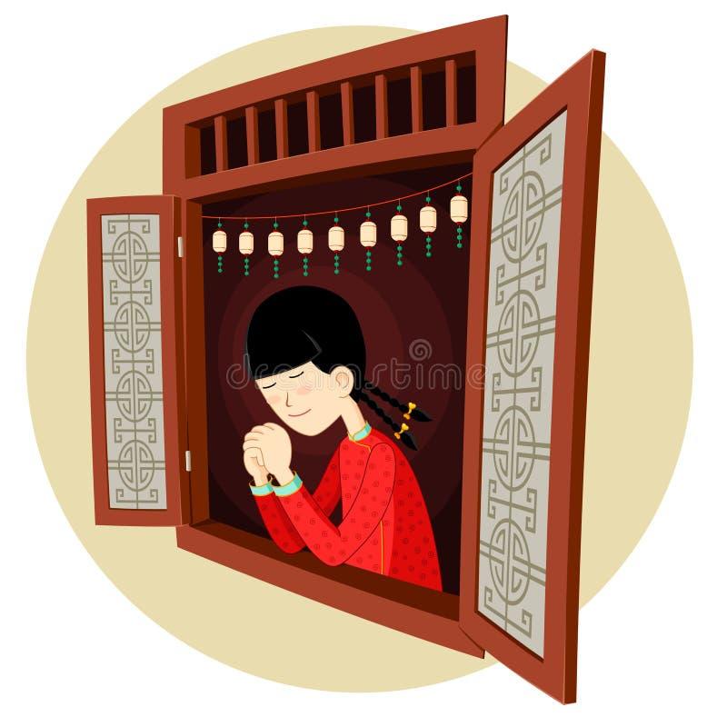 Fille chinoise priant dans la fenêtre illustration de vecteur