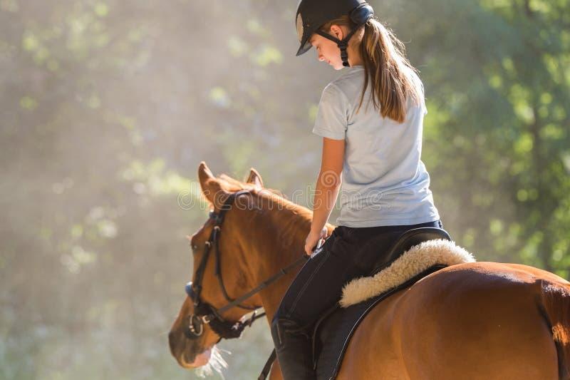 Fille conduisant un cheval images libres de droits