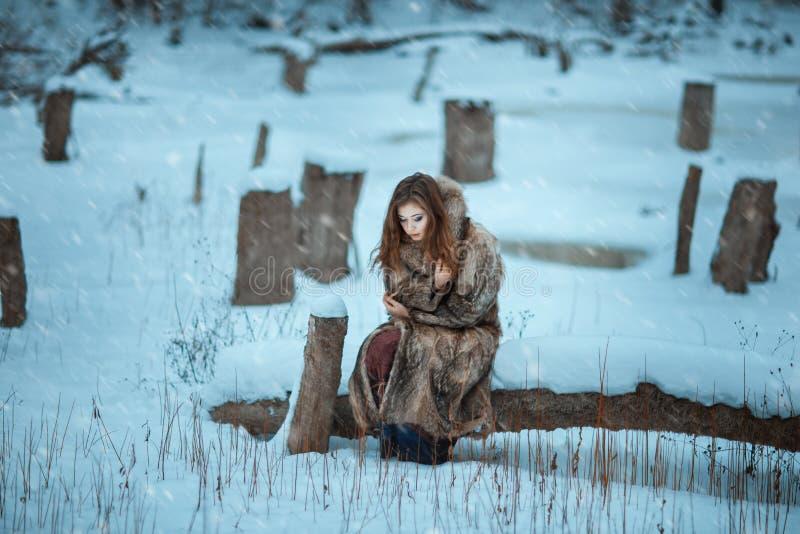 Fille congelée dans les bois d'hiver image libre de droits