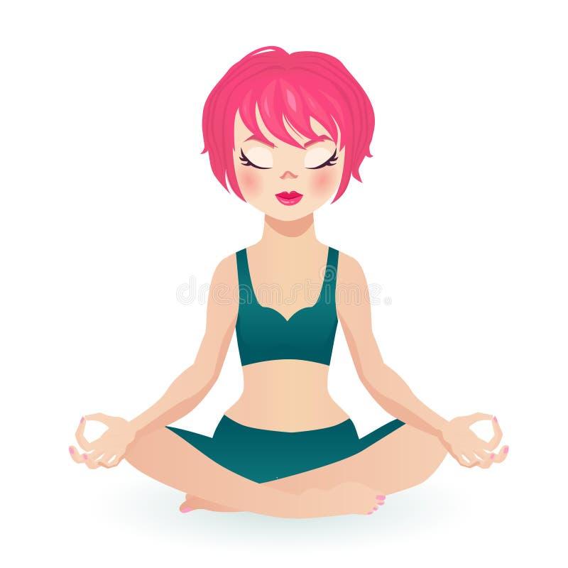 Fille convenable de cheveux roses s'asseyant dans la pose de lotus dans l'habillement de yoga, yeux fermés illustration de vecteur