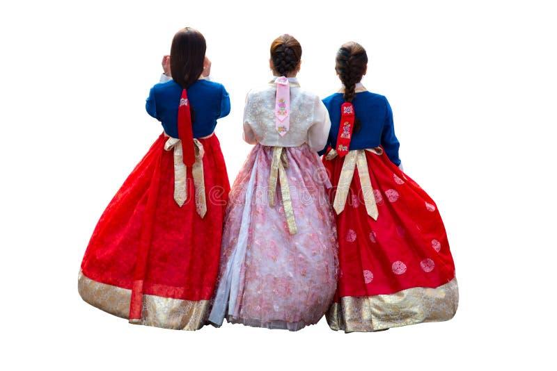 Fille coréenne dans la robe coréenne de hanbok avec le fond d'isolement photos libres de droits