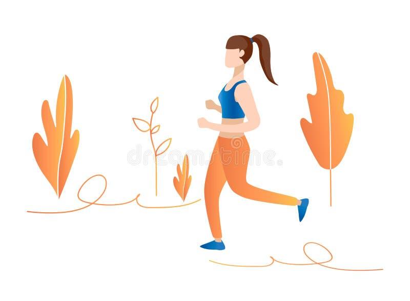 fille courue dans l'illustration de concept de forêt Fille pulsant en parc illustration de vecteur
