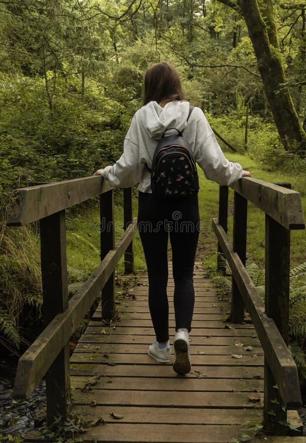 Fille croisant un pont photographié par derrière/jeune fille avec un sac à dos croisant un pont dans la forêt images stock