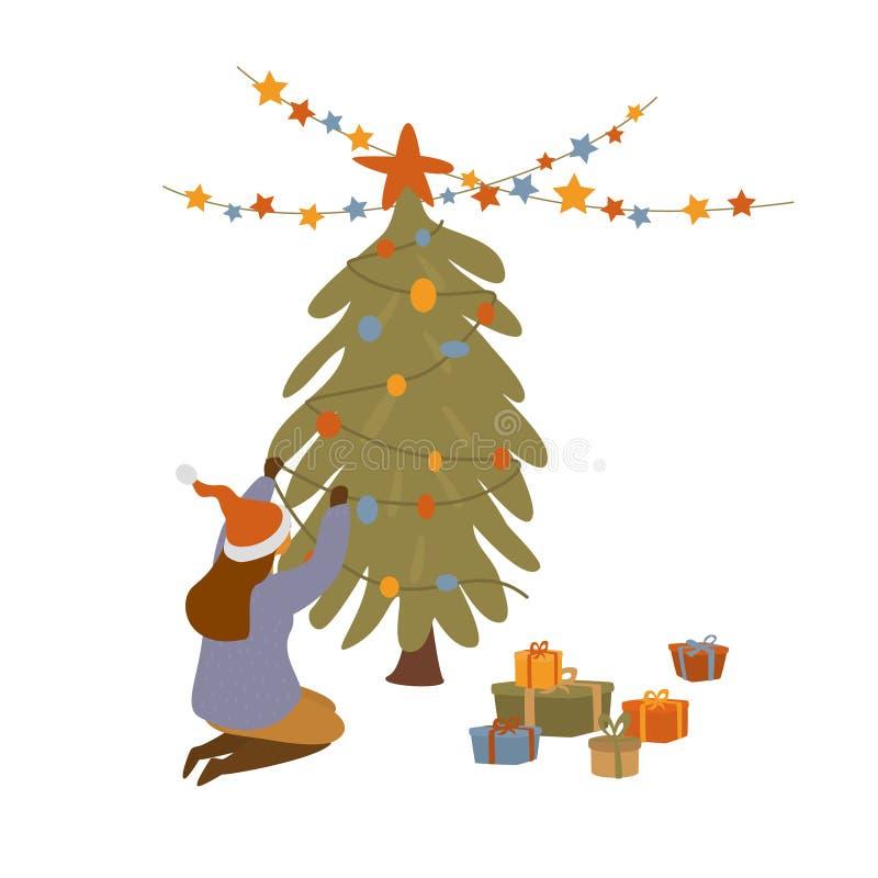 Fille décorant l'illustration d'isolement de vecteur d'arbre de Noël illustration libre de droits