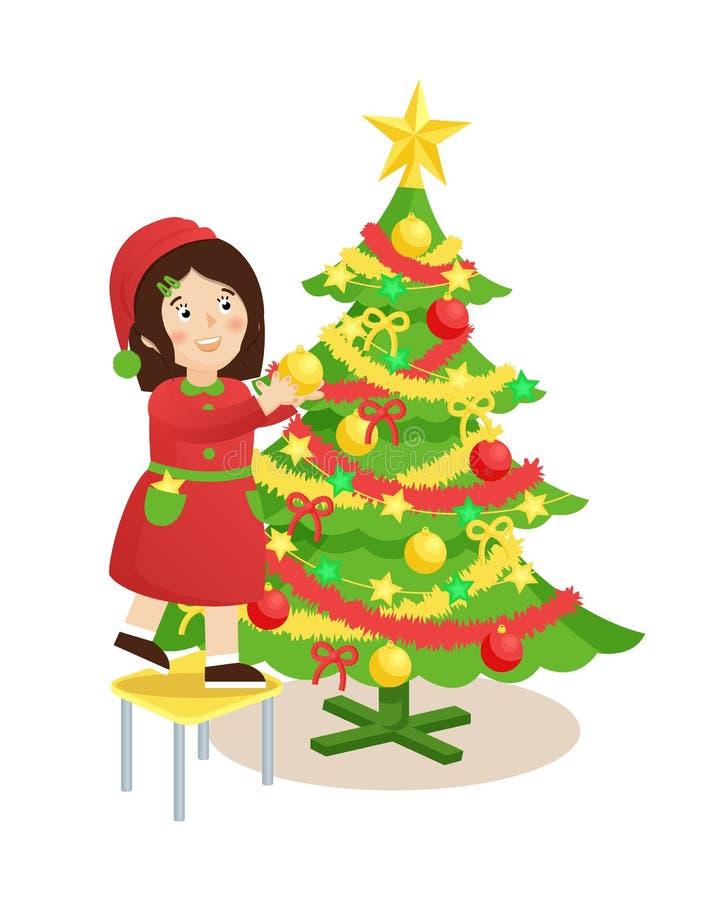 Fille décorant l'illustration de vecteur d'arbre de Noël illustration libre de droits