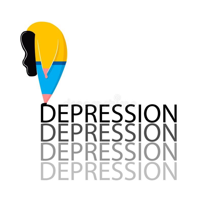 Fille déprimée dans la pose se tenant sur des problèmes de santé mentale de dépression de mot illustration libre de droits