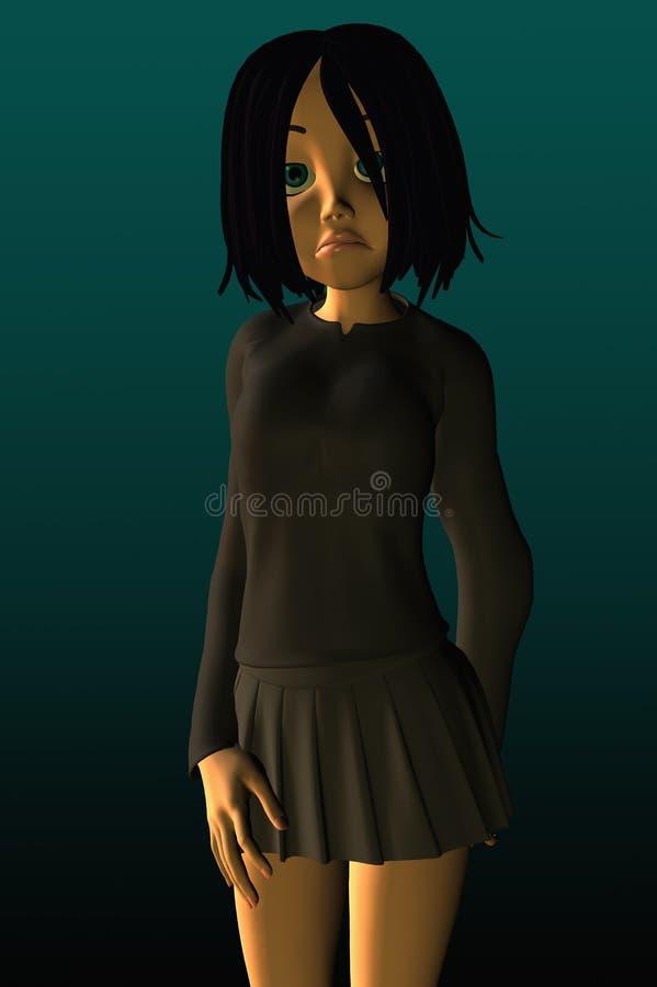 fille déprimée semblant malheureux de l'adolescence illustration de vecteur