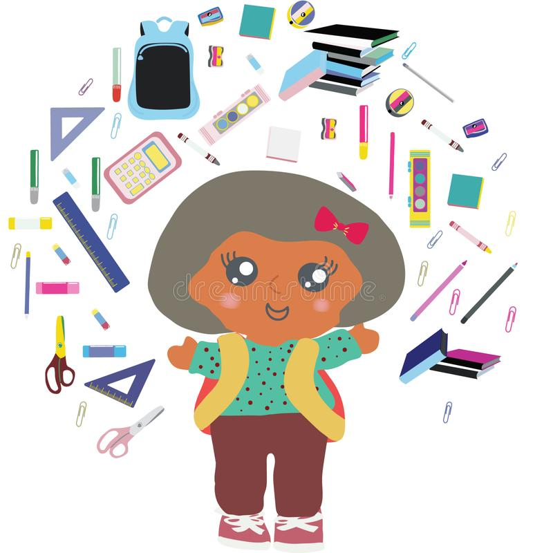 Fille d'école avec des fournitures scolaires volant autour de elle illustration stock