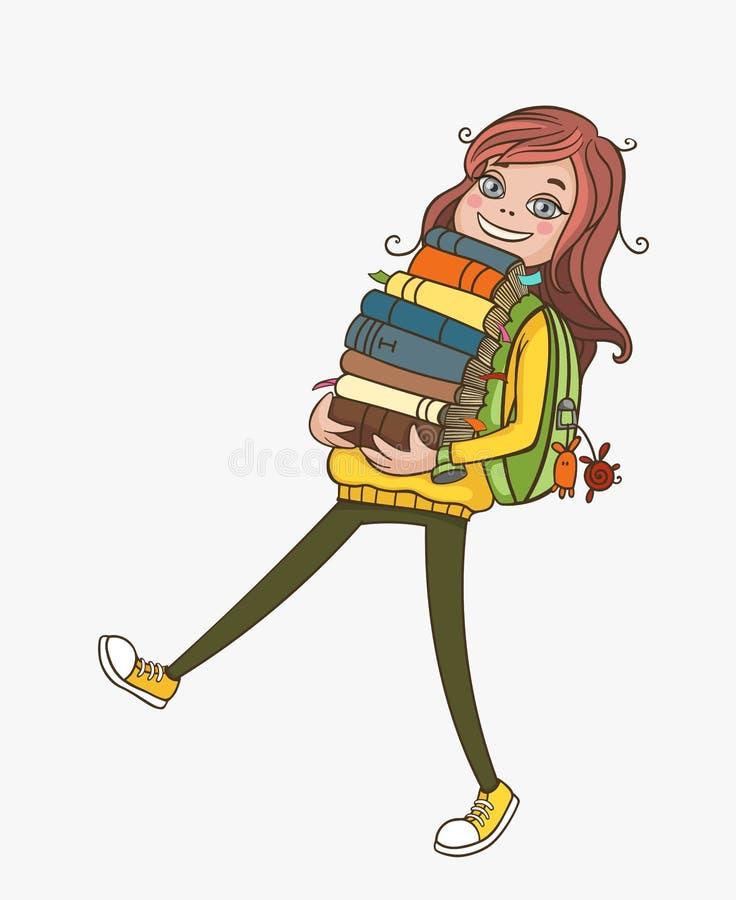 Fille d'école avec la pile colorée des livres illustration stock
