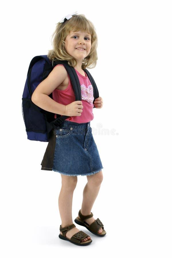 Fille d'école avec le sac à dos photos libres de droits
