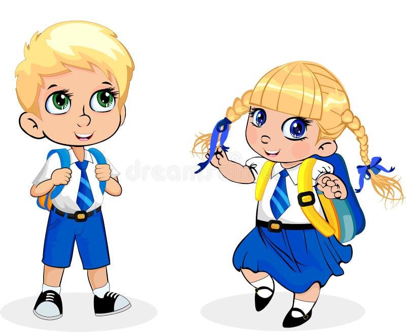 Fille d'école de bande dessinée et uniforme de port de garçon avec le sac à dos sur le fond blanc illustration stock