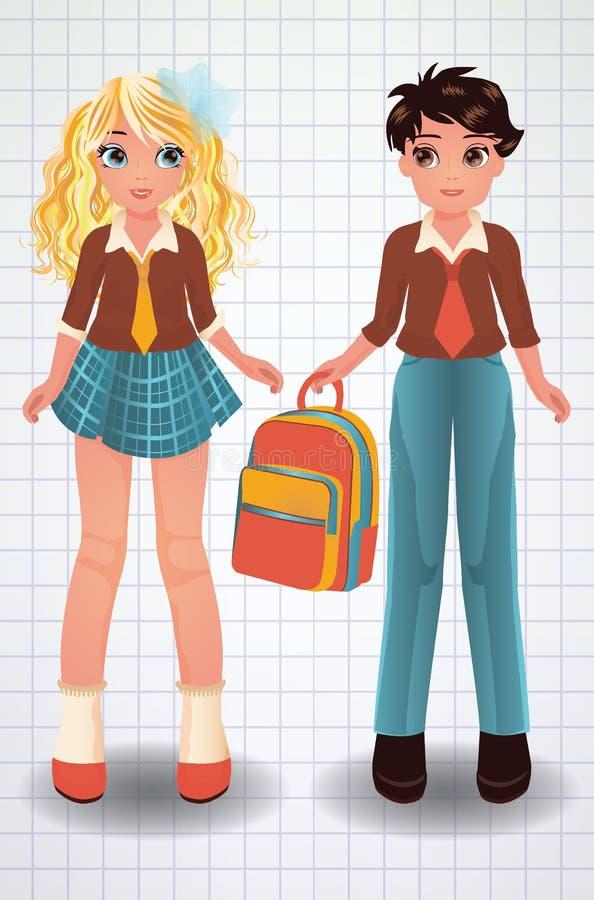 Fille d'école et garçon mignons, vecteur illustration de vecteur
