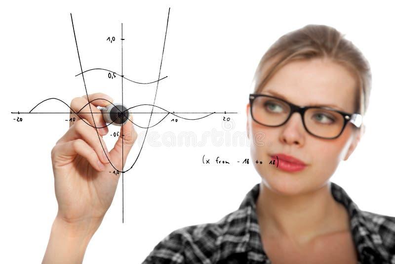 Fille d'étudiant traçant un graphique mathématique image stock