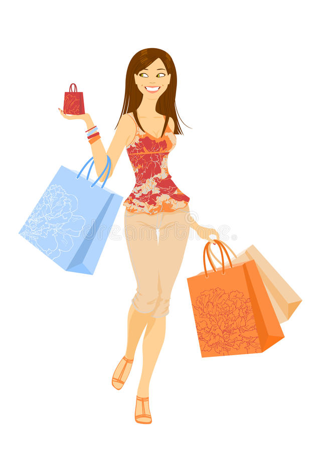 Fille d'achats illustration stock