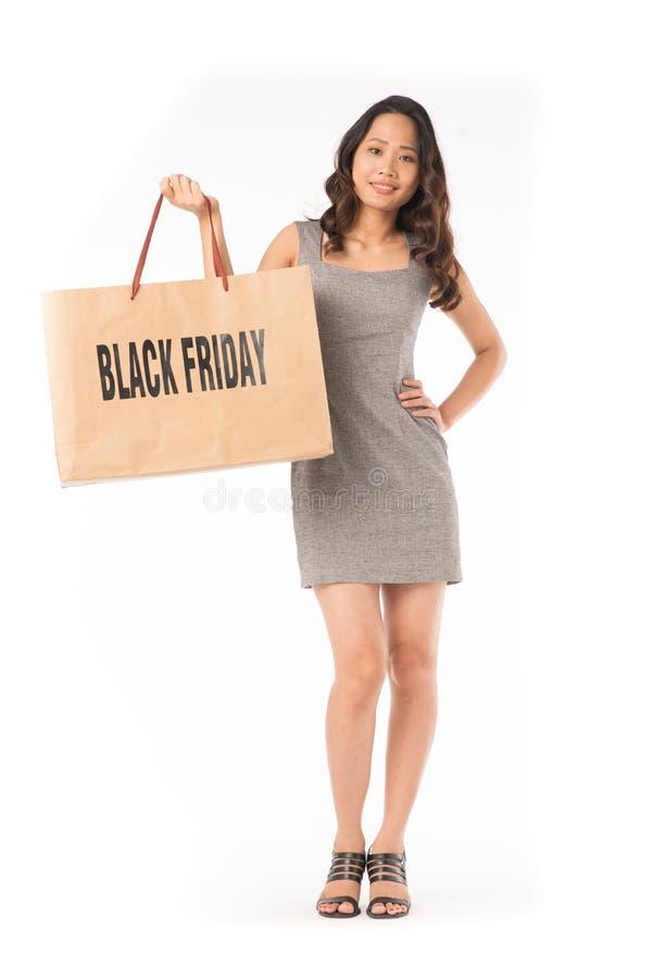 Fille d'achats de Black Friday image libre de droits