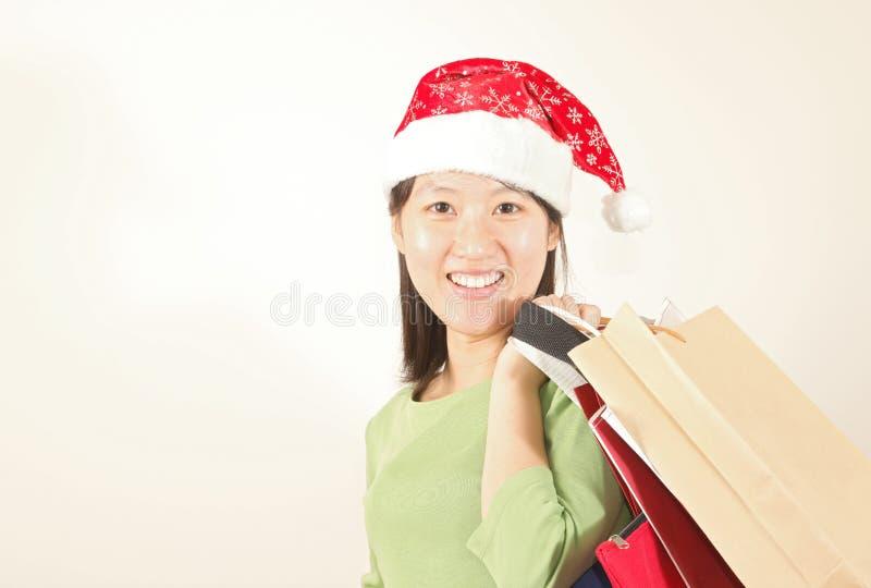 Fille d'achats de Noël photos libres de droits